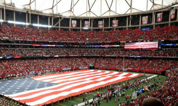 national anthem at a football game