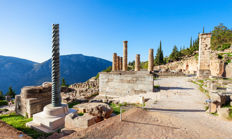 Serpent column delphi in Greece