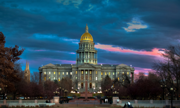 Sunset photo of Colorado State Capital building