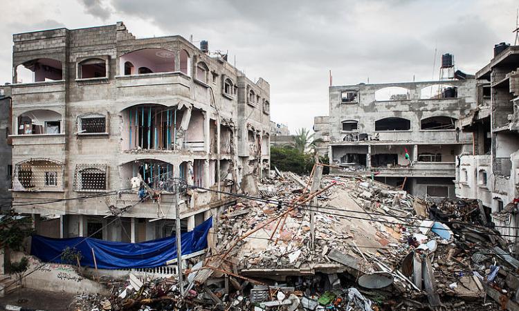 Destroyed house in the Jabalia refugee camp, Gaza–Israel conflict, December 2012